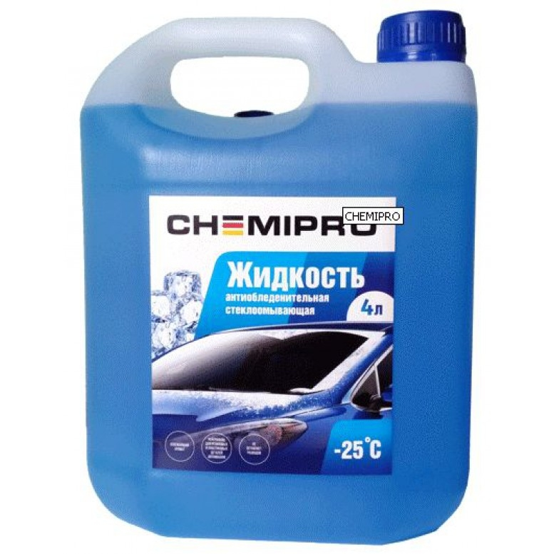 Жидкость для стеклоомывателя зимняя! 4л готовая -25°С, с чистящ. добавками,запах лимона